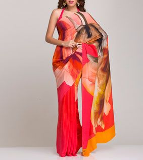 Red, Peach And Brown Silk Saree