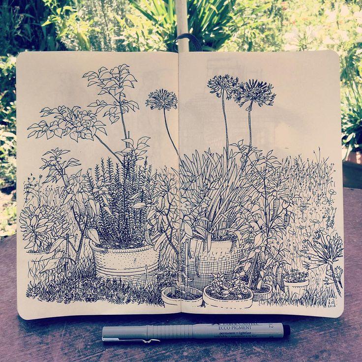 """jaredmuralt""""Blumengarten"""" in my #Moleskine #Sketchbook. Spent my Sunday morning in our garden"""