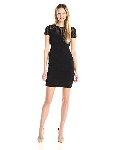 Calvin Klein Women's Pin Tuck Dress with Illusion, Black, 8 - http://best-women-shop.xyz/2016/05/28/calvin-klein-womens-pin-tuck-dress-with-illusion-black-8/