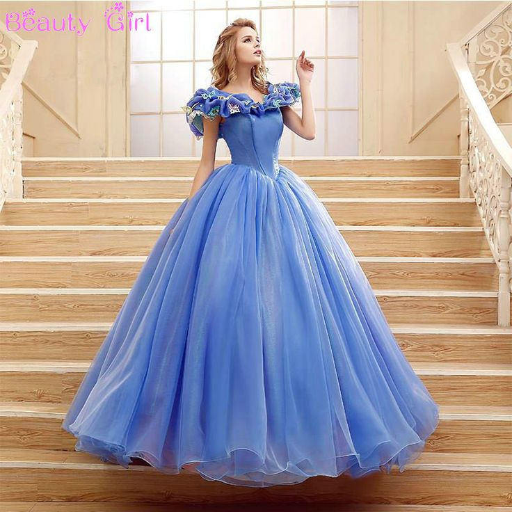 2015 New Scoop Ball Gown Organza Blue Quinceanera Dresses Coming of age Ceremony…