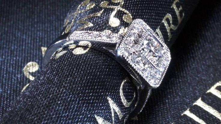 Bespoke halo in platinum.  By McGuire Diamonds.