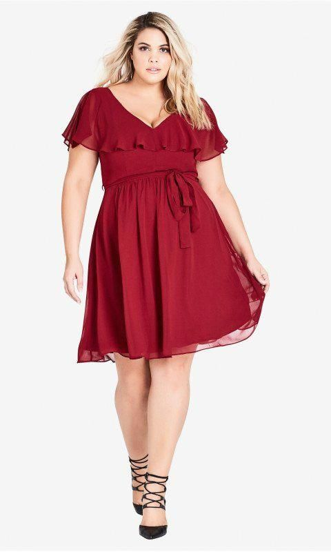 64f5cd1e144 Shop Women s Plus Size Shirred V Neck Dress - Ruby - Dresses