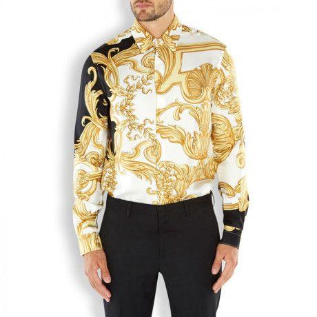 Gianni Versace Silk Shirts Men Silk shirt in gold for men