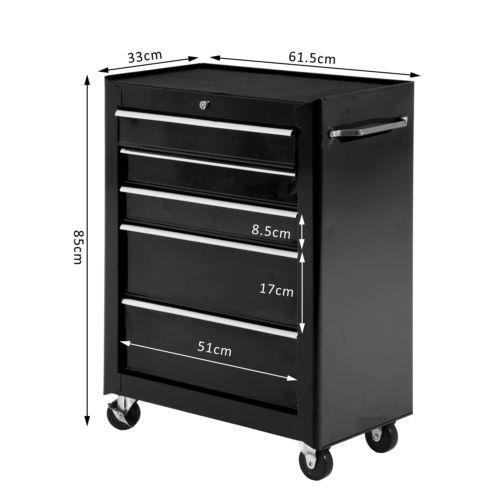 Carro-Caja-de-Herramientas-Taller-Movil-5-Cajones-4-Ruedas-Cerradura-Color-Negro