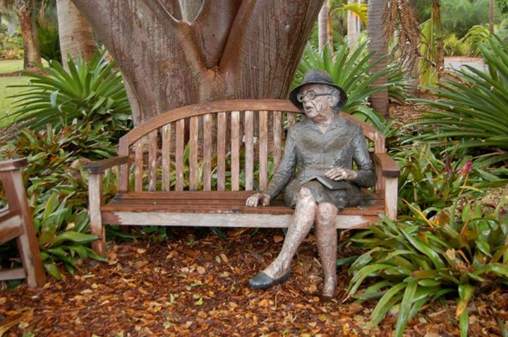"""The Mother of the Everglades""""   Bronze Sculpture """"Come Sit With Me"""" of Marjory Stoneman Douglas - Fairchild Tropical Botanic Garden - Miami, Florida. Marjorie Stoneman Douglas ~ the first to advocate for preservation of the Everglades ~ author of """"The Everglades: River of Grass"""""""