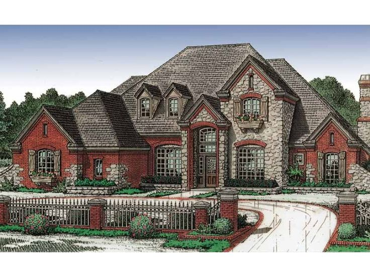 french country style 2 story 4 bedroomss house plan with 3586 total square
