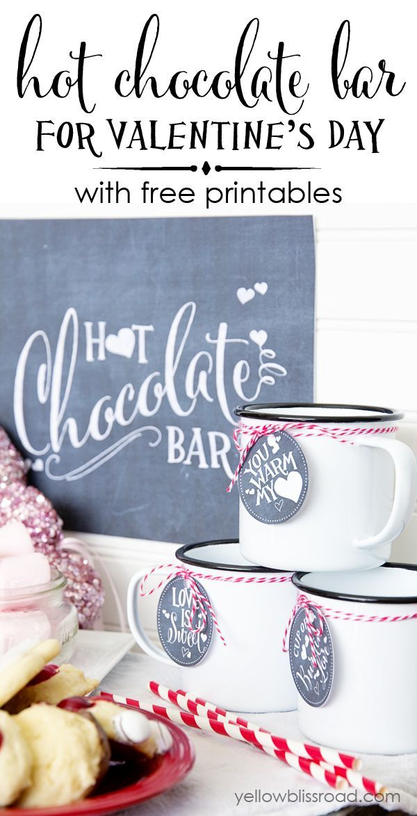 Hot Chocolate Bar for Valentines Day with Free Printables