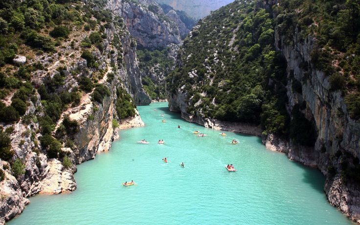 Verdon Gorge, France - A River Canyon located in south eastern France. Said to be as Europe's top beautiful River Canyon. 25 kms long and up to 700 meters deep. The Canyon is known for its starling turquoise waters. It is famous in various activities like rock climbing, kayaking, hiking, and sight-seeing. Each side of Verdon Gorge is easily accessed, or a car ride round the rim is a lovely way to spend a day.