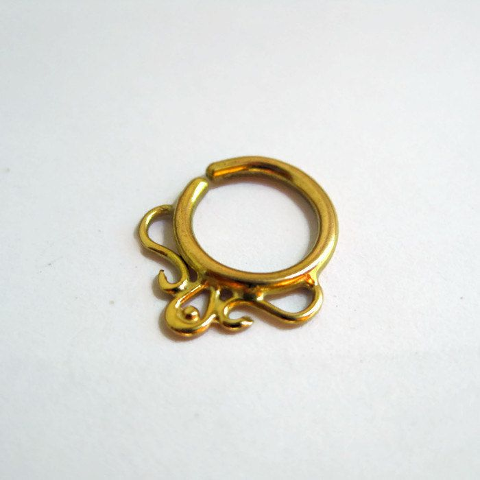 Gold Septum Ring. Indian Septum Ring. Tribal Septum Ring. Gypsy Septum Ring. Hippie Septum Ring. Primitive Septum Ring. 16g. Gold Nose Ring by siharah on Etsy