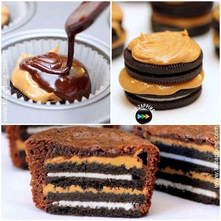 Brownies de oreo y crema de cacahuate. Las galletas oreo son tan tradicionales en Estados Unidos como el pay de manzana; Si las combinas con