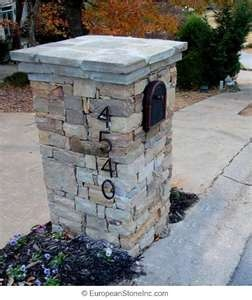 stone mailbox; attractuve stone and address lettering, double layered capstone
