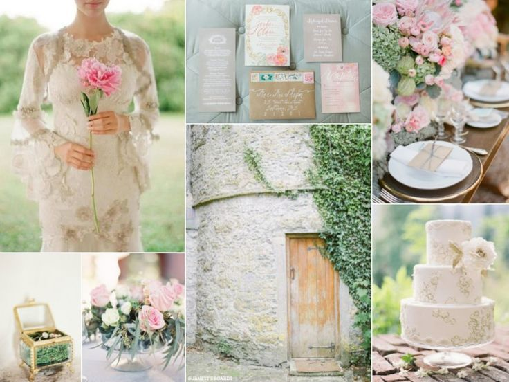 Blush pink and lace wedding inspiration board