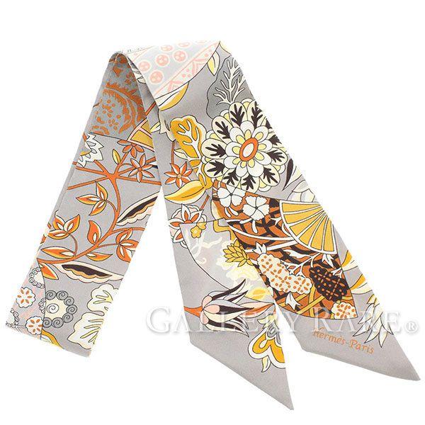 エルメス スカーフ ツイリー Fleurs et Papillons de Tissus 花咲く織物 HERMES シルクスカーフ