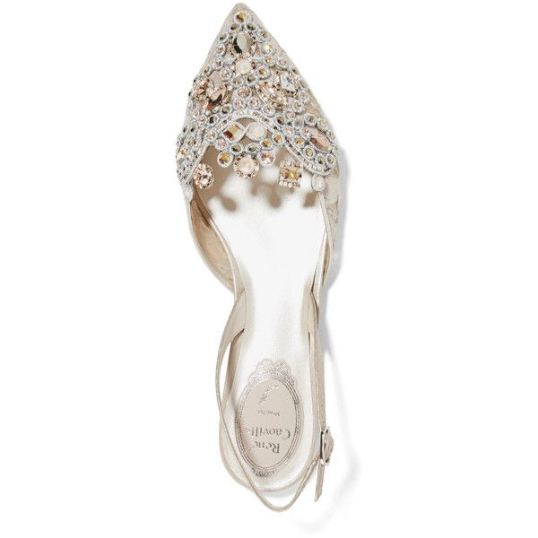 René Caovilla Crystal-embellished lace and ayers point-toe flats ($1,310) ❤ liked on Polyvore featuring shoes, flats, pointy toe flat shoes, flat shoes, pointed toe slingback flats, sling back flats and evening flats