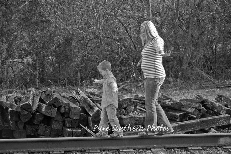 Mommy and Son Train Track photography
