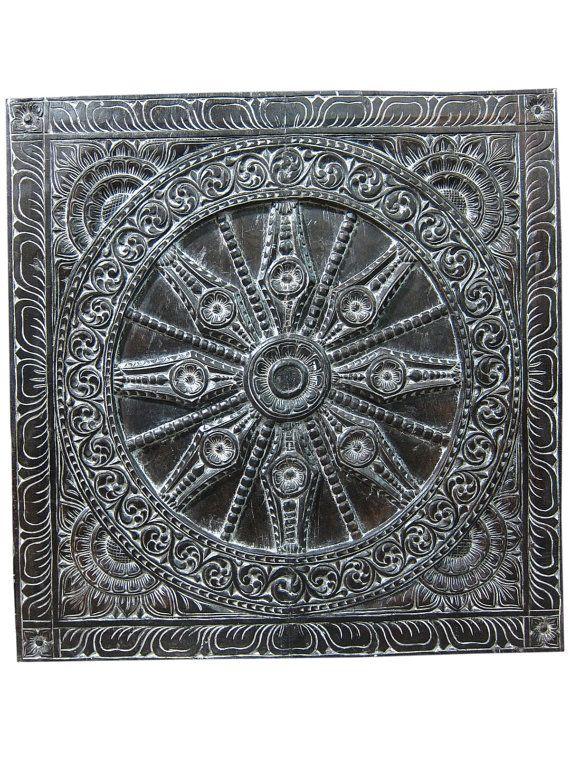 "Decorative Panel Konark Wheel Wall Panel Yoga Decor Hand Carved Doors 36"""