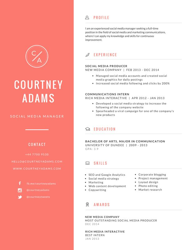163 Best Resume Images On Pinterest | Free Creative Resume