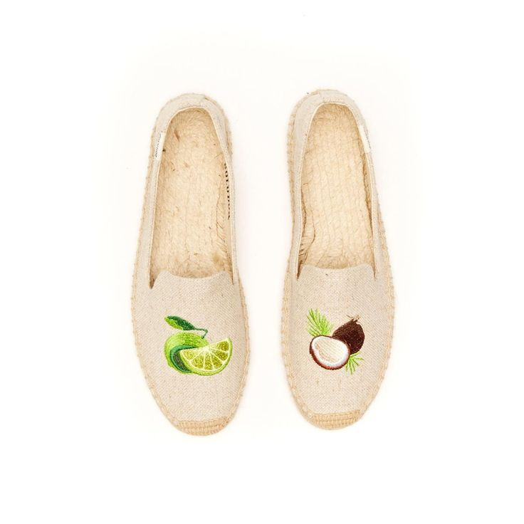 Smoking Slipper Fruit Embroidery - Lime and Coconut Sand Espadrilles for Women from Soludos - Soludos Espadrilles