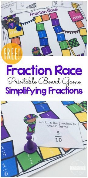 FREE Fractions Game - this is such a fun, educational math game to help kids in 4th grade, 5th grade, and 6th grade  practice writing fractions in their simplest form. Great for math centers, homeschool, summer learning, and after school practice. #mathforadults