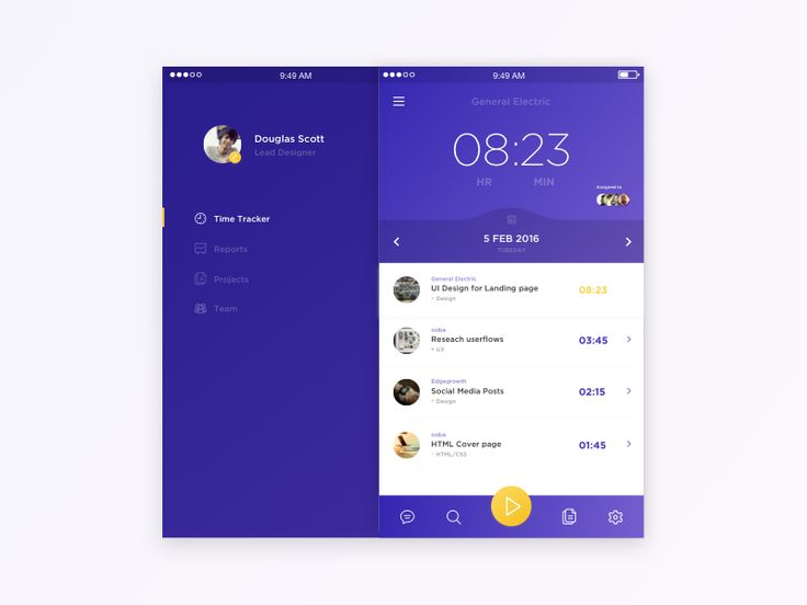 Time tracking App concept by Calvin Smith #Design Popular #Dribbble #shots