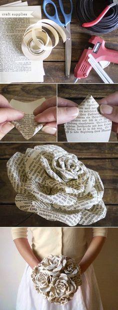 Rose aus Zeitungspapier zum selber machen :: DIY STORYBOOK PAPER ROSES