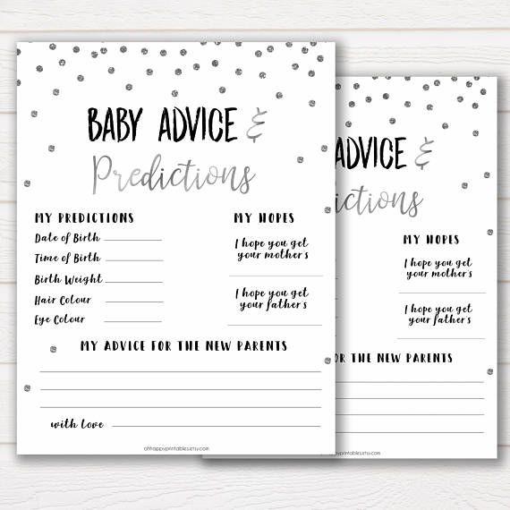 Baby Advice Predictions Card Silver Baby Shower Baby Etsy Baby Advice Baby Shower Advice Baby Shower Printables