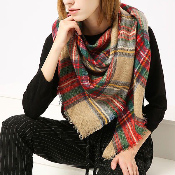Women Trendy Plaid Triangle Blanket Winter Warm Scarf Checked Wrap Wool Shawl