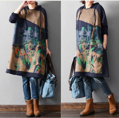 Autumn and winter long sleeve print loose 100% cotton hooded Sweatshir – Tkdress