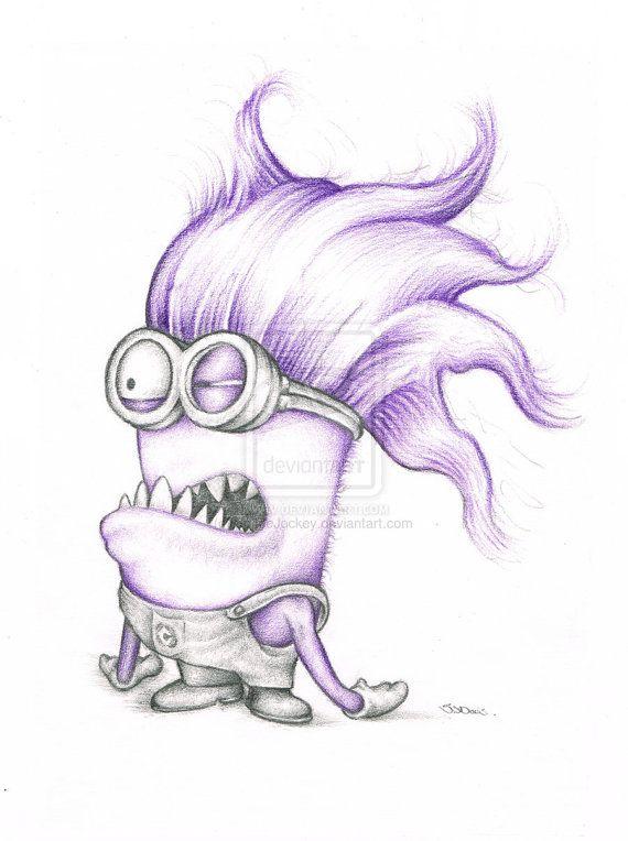 Purple Minion Minnion Despicable Me Art colour Pencil Drawing Signed A4 Print