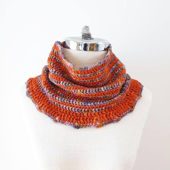 Striped Cowl Scarf Pattern, Crochet pattern, Striped cowl scarf, scarf pattern, worsted weight pattern, crochet scarf pattern,