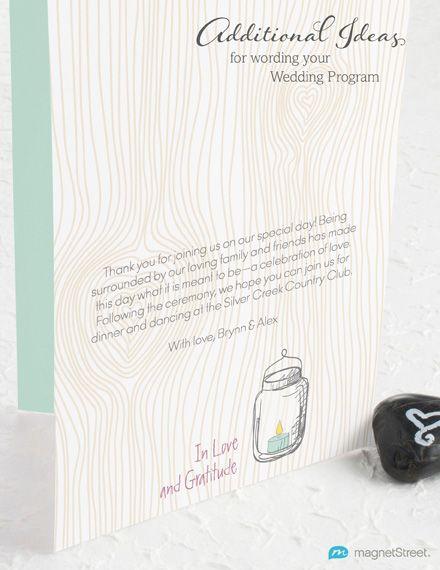 Wedding Program Wording - Additional Ideas from MagnetStreet