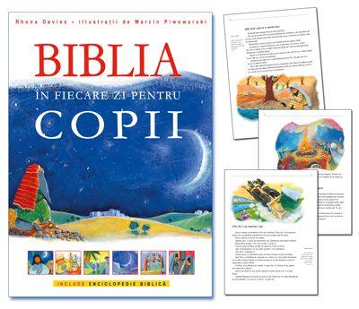 Poţi să îl aduci pe copilul tău mai aproape de Biblie! 365 de povestiri însoţite de citate biblice, astfel încât copiii să se familiarizeze cu stilul şi limbajul Bibliei pentru adulţi. Enciclopedia de la sfârşit explică pe înţelesul celor mici lumea biblică: cum se îmbrăcau oamenii, ce mâncau, despre agricultură, meşteşuguri, plante, animale, cetăţi şi oraşe, familii şi case. http://www.nouasperanta.ro/bibliainfiecarezi