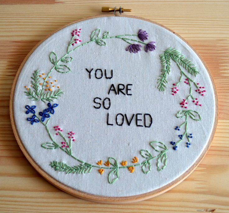 www.breezebot.com  you are so loved, floral wreath springtime embroidery