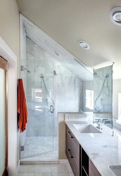 Shower Half Wall And Sink W Hanging Mirror Sloped Ceiling Bathroom Small Attic Bathroom Bathroom Mirror Design