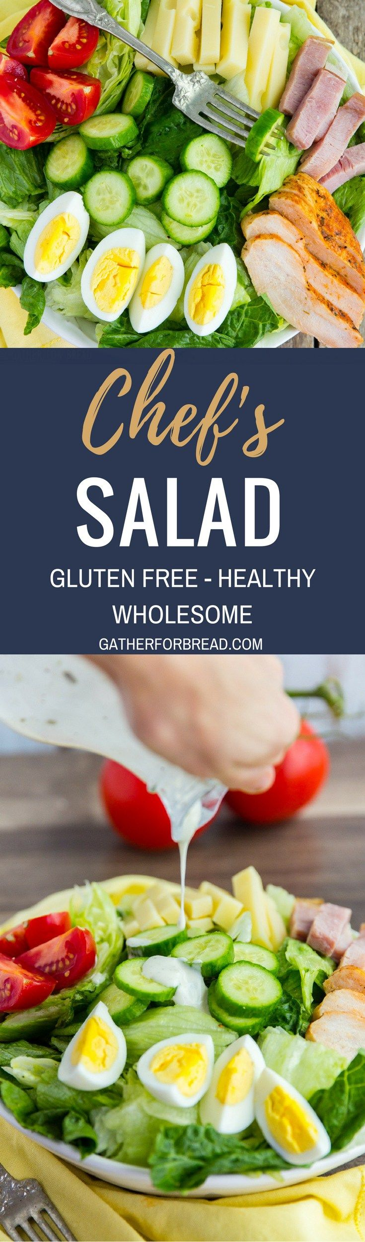 Chef's Salad Recipe - AD  Make homemade chef's salad with Romaine lettuce, ham, turkey and chopped vegetables. Delicious ingredients for an easy salad