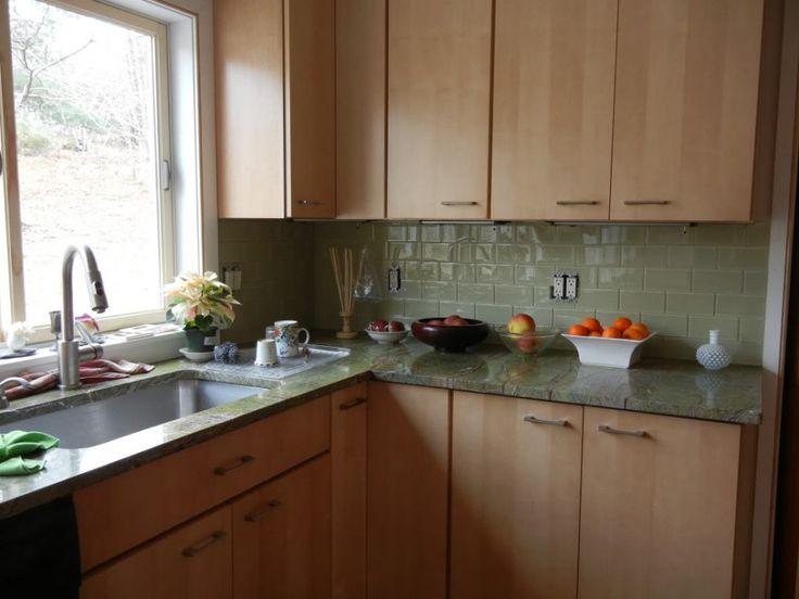 light green glass subway tile kitchen backsplash including sage green