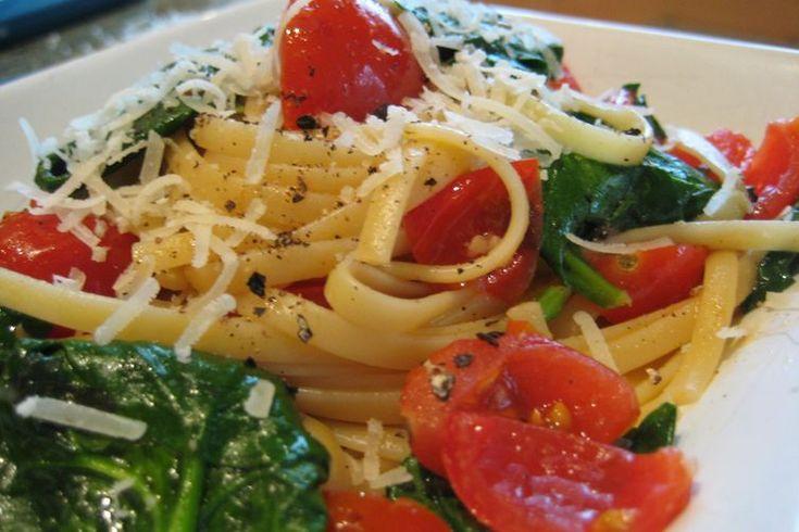 Linguine w/ Turkey Sausage, Pancetta, Spinach, Baby Tomatoes & Pecorino recipe on Food52