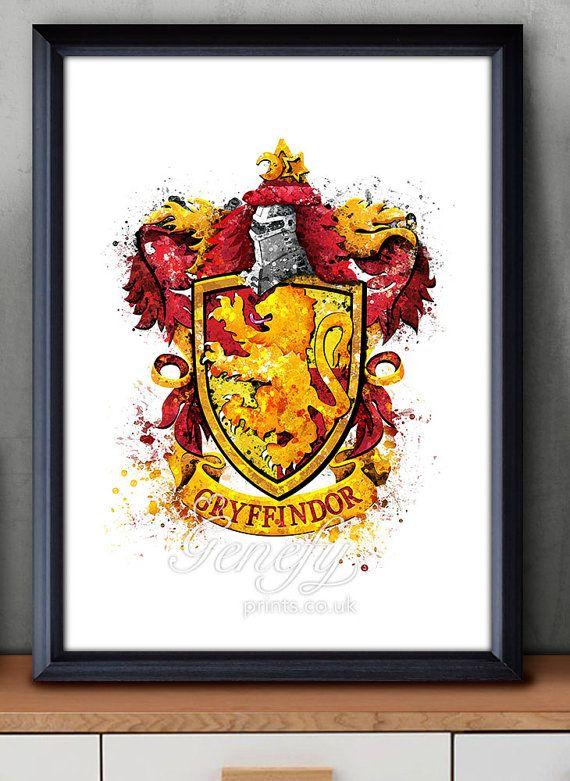Les enfants de Harry Potter Gryffondor crête aquarelle Art Poster Print - Wall Decor - Aquarelle - Aquarelle Art - Decor - Decor de pépinière