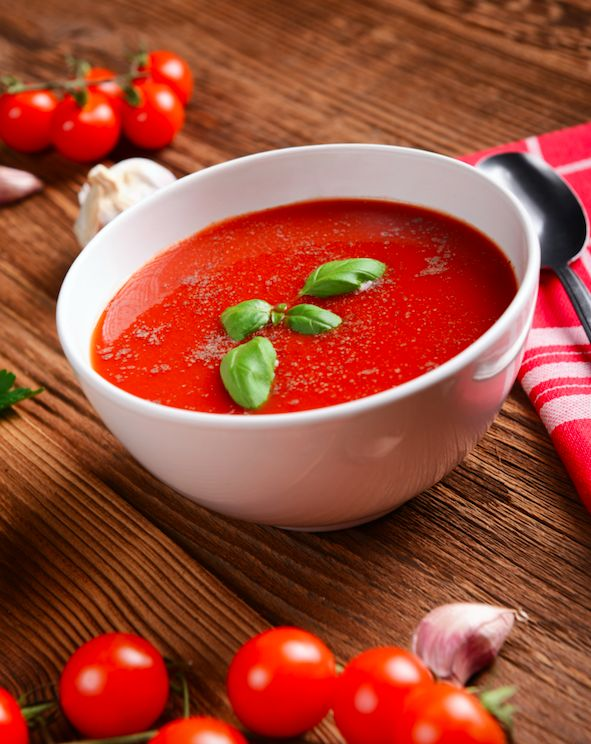 This light and healthy soup tastes best when made with fresh, locally grown tomatoes, in abundance during the summer months. This recipe clocks in at less than 100 calories and about 300 mg of sodium per serving—less than half of the sodium in many store-bought brands. Nutrition: 84 calories, 2 g protein, 3 g fibre per serving.
