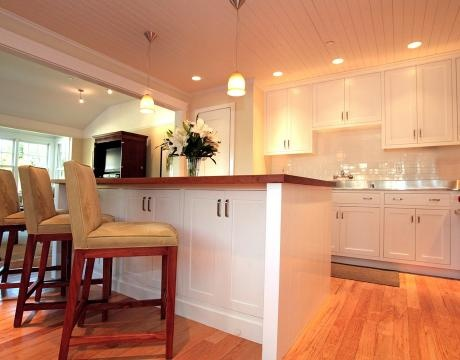 Cabinets in the kitchen island