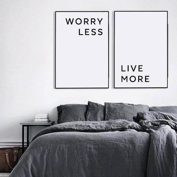 Motivational wall decor, Worry Less Live More, Inspirational wall art, Anti anxiety quote print, Bedroom wall decor, Inspirational quote