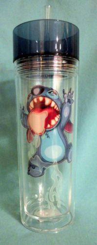 Disney Lilo Stitch Acrylic Travel Tumbler Reusable Straw Cup Theme Parks NEW(i almost died of laughter this was to funny and cute)