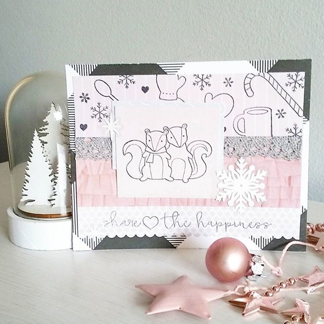 """Another """"Share the happiness"""" card with black and white and blush 😊❤#snailmailer #sendmoremail #cardmaking #happymailday #happymail #snailmail #postcrossing #penpals #blush #pink #winter #rosegold #blackandwhite"""