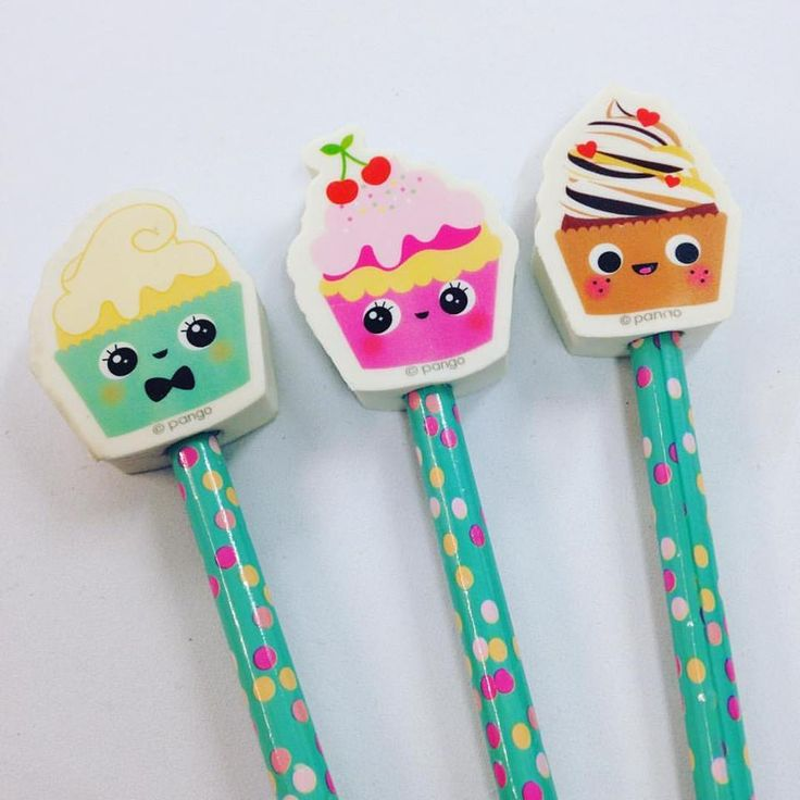 Cupcake Pencils with Eraser, Pack of Three, Fun, Kids Stationery, Office, Gift, School by RockinRuler on Etsy