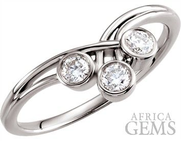 Beautiful 1/3 ct 3-Stone 3.00 mm Bezel Set Diamond Ring With Unique Woven Design - Choose Metal Type