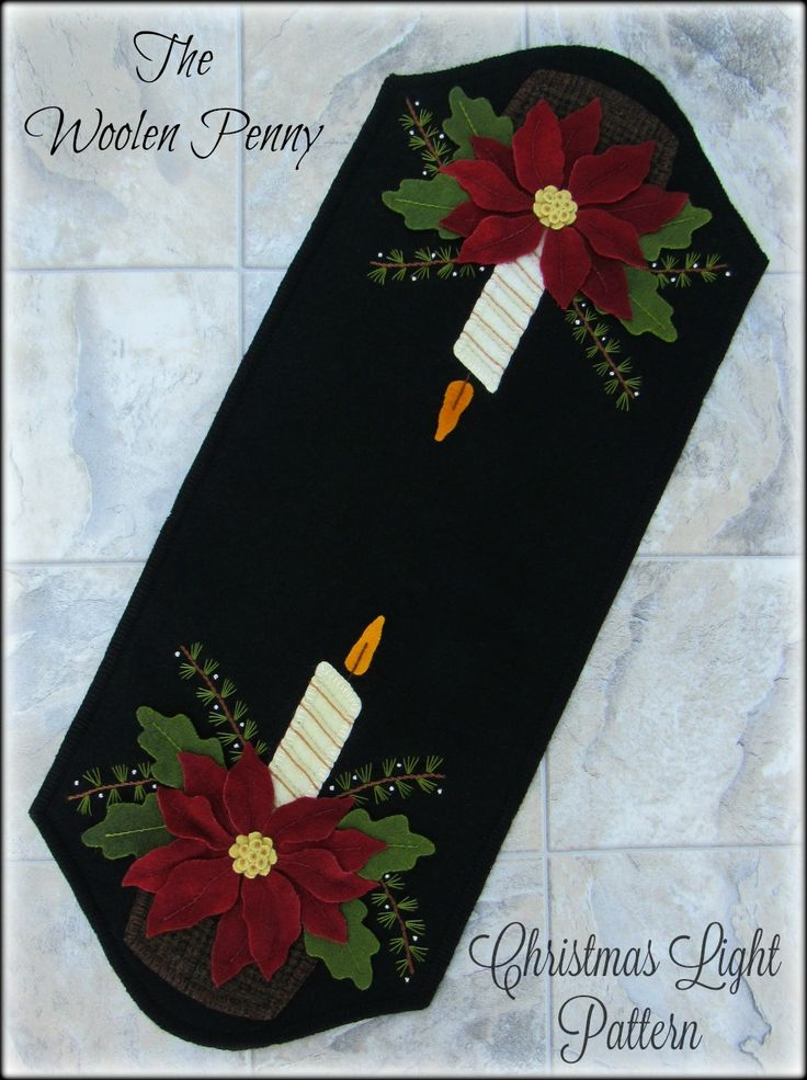 Wool Applique Penny Rug Table Runner Christmas Light Poinsettias Candles  www.thewoolenpenny.com