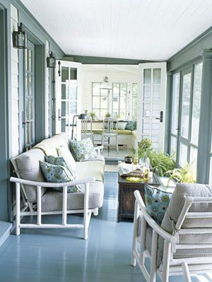 Camp Style: Porches Architect Gil Schafer converted an open porch to a screened porch and, next to it, a dining room. Color expert Eve Ashcraft chose Narragansett Green for the porch floor and Stonington Gray for the ceiling, both from Benjamin Moore.