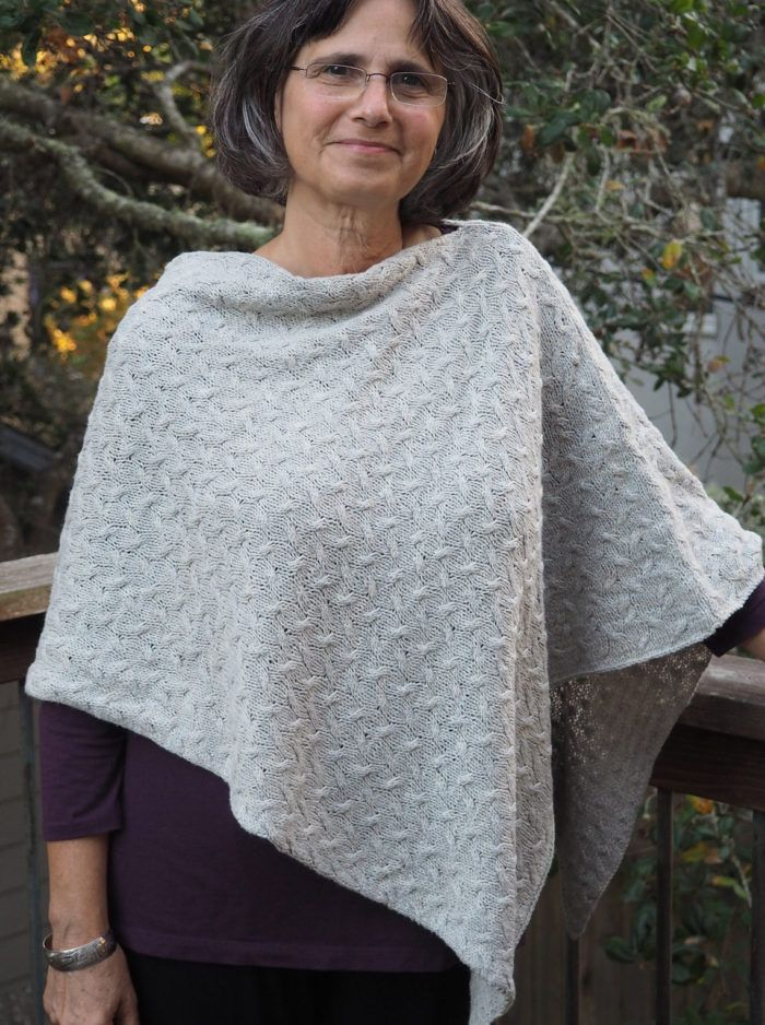 Free Knitting Pattern For Easy Shadow Poncho This Poncho Is Knit Cool Free Poncho Knitting Patterns