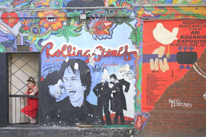 Russia, Moscow, Rythm & Blues cafe, mural ©Ludovic Maisant
