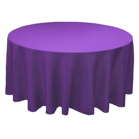 "108"" Round Polyester Purple Tablecloth"